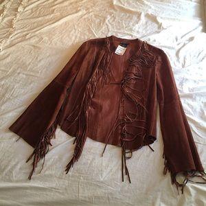 Bebe Fringe BOHO Leather Jacket DAMAGED